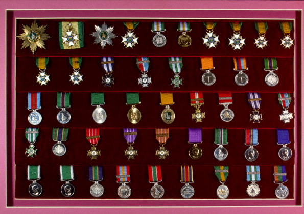 Display of Rhodesian awards and decorations.