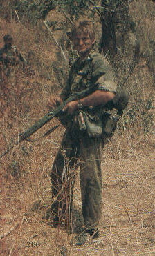A Selous scout, amazingly in trousers and not bush shorts.